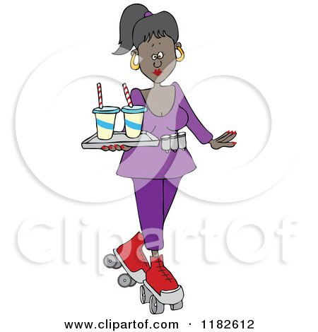 Cartoon of a Pretty Black Roller Skating Carhop Waitress with Drinks on a Tray - Royalty Free Vector Clipart by djart