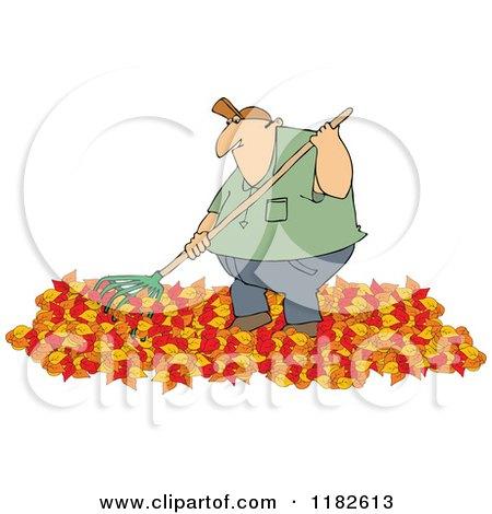 Cartoon of a Chubby Caucasian Man Raking Autumn Leaves - Royalty Free Vector Clipart by djart
