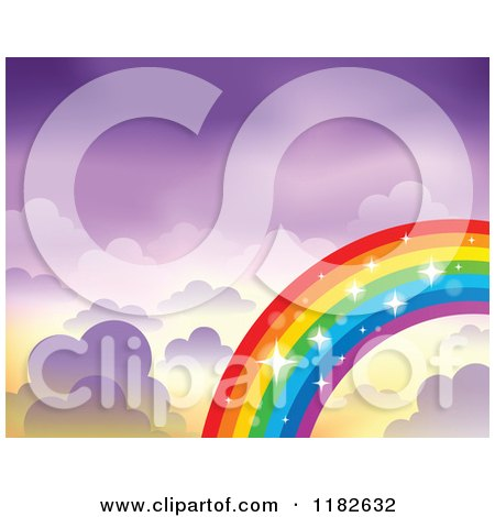 Cartoon of a Sparkly Rainbow and Clouds in a Purple Sky - Royalty Free Vector Clipart by visekart