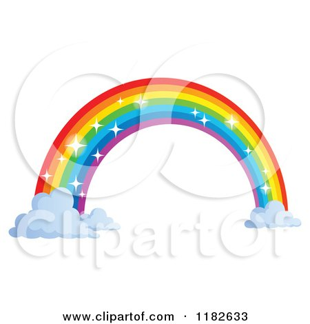 Cartoon of a Sparkly Rainbow Arch and Clouds - Royalty Free Vector Clipart by visekart