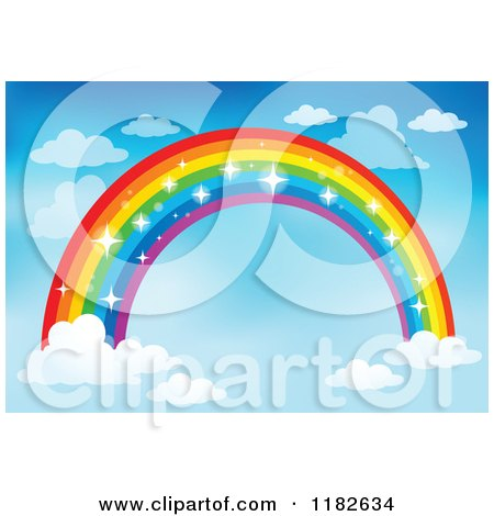 Cartoon of a Sparkly Rainbow and Clouds in a Sky 2 - Royalty Free Vector Clipart by visekart