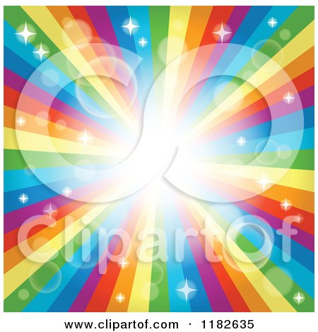 Cartoon of a Rainbow Burst with Sparkles and Flares - Royalty Free Vector Clipart by visekart