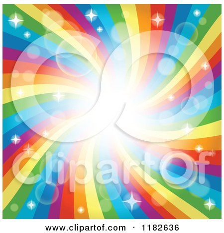 Cartoon of a Rainbow Swirl or Vortex with Sparkles and Flares - Royalty Free Vector Clipart by visekart