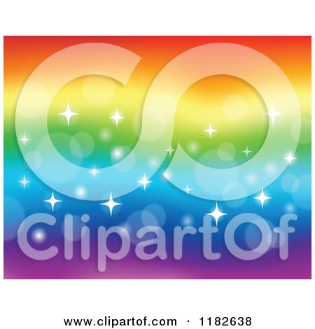 Cartoon of a Rainbow Background with Flares and Sparkles - Royalty Free Vector Clipart by visekart
