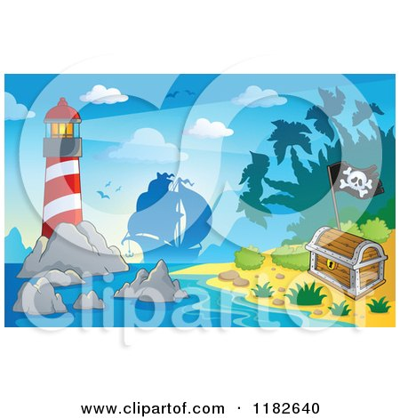 Cartoon of a Shining Lighthouse near an Island and Silhouetted Pirate Ship - Royalty Free Vector Clipart by visekart