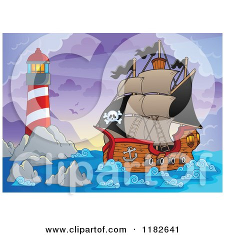 Cartoon of a Shining Lighthouse and Pirate Ship at Dawn - Royalty Free Vector Clipart by visekart