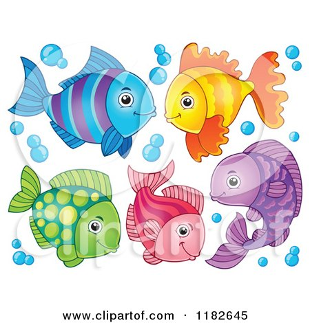 Cartoon of Colorful Fish and Bubbles - Royalty Free Vector Clipart by visekart