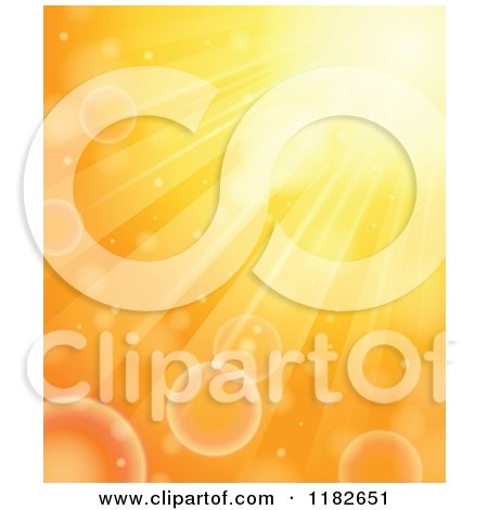 Cartoon of a Orange Sunlight Rays and Flares - Royalty Free Vector Clipart by visekart