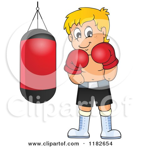 Cartoon of a Blond Boxer by a Punching Bag - Royalty Free Vector Clipart by visekart