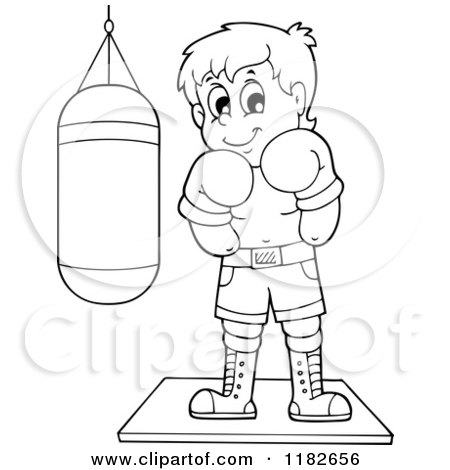 Cartoon of an Outlined Boxer by a Punching Bag - Royalty Free Vector Clipart by visekart