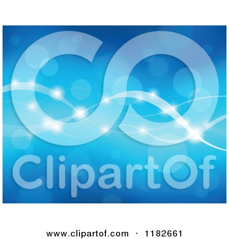 Cartoon of a Blue Background of Flares and Waves - Royalty Free Vector Clipart by visekart