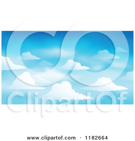 Cartoon of a Blue Sky with Clouds Background - Royalty Free Vector Clipart by visekart