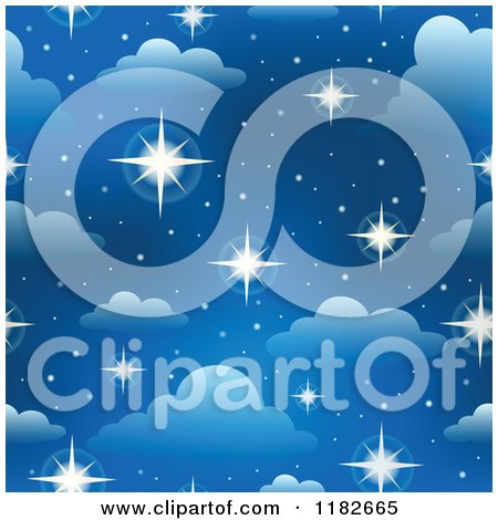 Cartoon of a Seamless Blue Sky with Sparkling Stars and Clouds - Royalty Free Vector Clipart by visekart