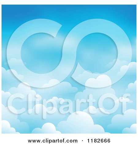 Cartoon of a Blue Sky with Clouds Background 2 - Royalty Free Vector Clipart by visekart