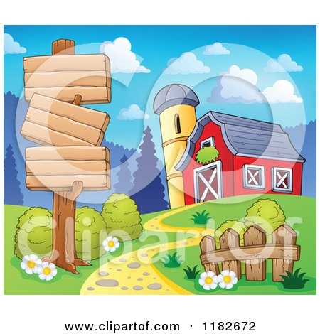 Cartoon of a Wooden Sign over a Path Leading to a Barn - Royalty Free Vector Clipart by visekart