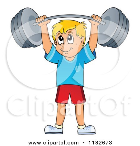 Cartoon of a Blond Man Lifting a Barbell - Royalty Free Vector Clipart by visekart
