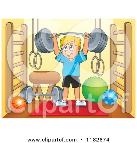 Cartoon of a Blond Man Lifting a Barbell in a Gym Room - Royalty Free Vector Clipart by visekart
