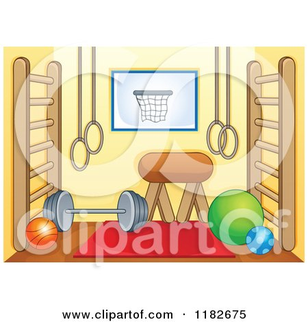 Cartoon of a Gym Room with Equipment - Royalty Free Vector Clipart by visekart