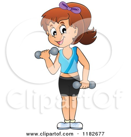 Cartoon of a Brunette Woman Working out with Dumbbells - Royalty Free Vector Clipart by visekart