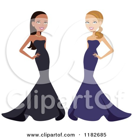 Clipart of Beautiful Black and White Women Posing in Formal Gowns - Royalty Free Vector Illustration by Monica