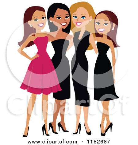 Clipart of Beautiful Diverse Ladies in Formal Dresses - Royalty Free Vector Illustration by Monica