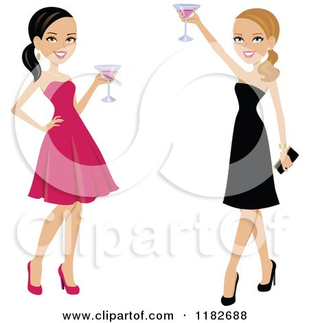 Clipart of Two Beautiful Women Toasting in Formal Gowns - Royalty Free Vector Illustration by Monica