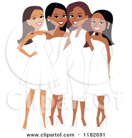 Clipart of Happy Diverse Ladies in White Formal Dresses - Royalty Free Vector Illustration by Monica