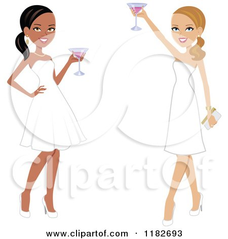 Clipart of Two Beautiful Women Toasting in White Formal Gowns - Royalty Free Vector Illustration by Monica