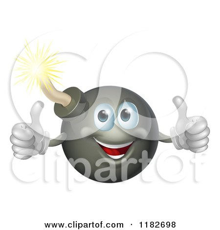 Cartoon of a Happy Bomb Mascot Holding Two Thumbs up - Royalty Free Vector Clipart by AtStockIllustration