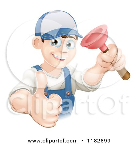 Cartoon of a Happy Young Plumber Holding a Plunger and a Thumb up - Royalty Free Vector Clipart by AtStockIllustration