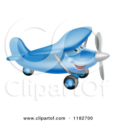 Cartoon of a Happy Blue Airplane Character Flying - Royalty Free Vector Clipart by AtStockIllustration