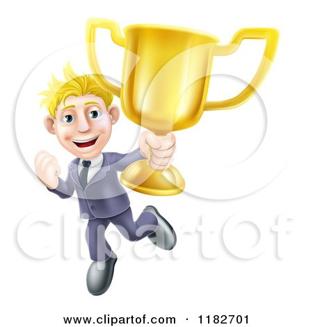 Cartoon of a Victorious Blond Businessman Holding a Trophy Cup - Royalty Free Vector Clipart by AtStockIllustration