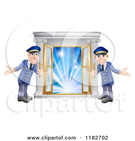 Cartoon of Friendly Door Men Holding Open VIP Doors to Lights - Royalty Free Vector Clipart by AtStockIllustration