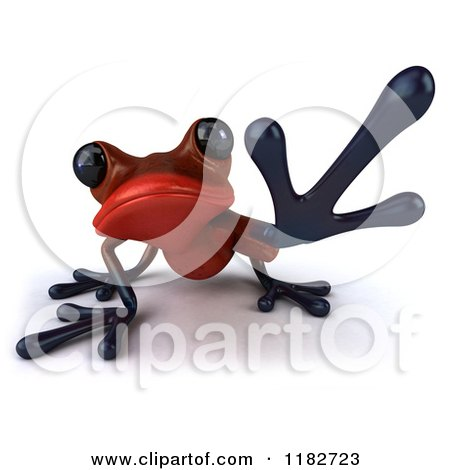 Clipart of a 3d Red Springer Frog Reaching - Royalty Free CGI Illustration by Julos