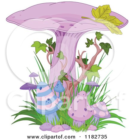 Clipart of Purple Magic Mushrooms with Ivy - Royalty Free Vector Illustration by Pushkin