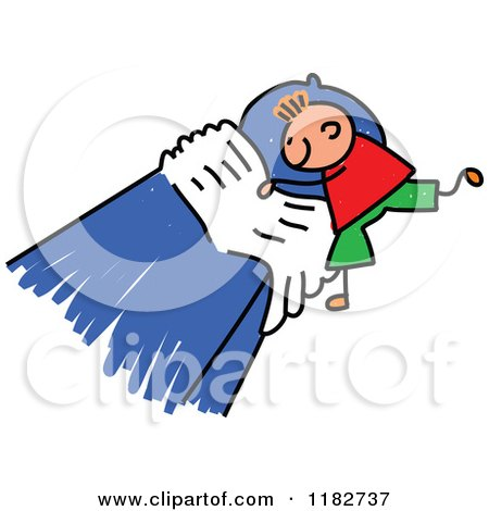 Cartoon of a Stick Boy Making His Bed - Royalty Free Vector Clipart by Prawny