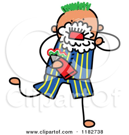 Cartoon of a Stick Boy Brushing His Teeth - Royalty Free Vector Clipart by Prawny