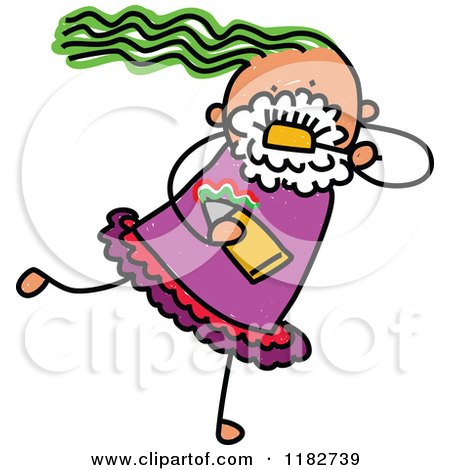 Cartoon of a Stick Girl Brushing Her Teeth - Royalty Free Vector Clipart by Prawny