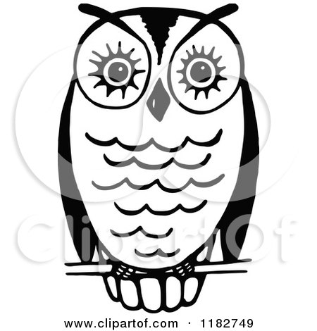 Clipart of a Black and White Perched Owl 3 - Royalty Free Vector Illustration by Prawny