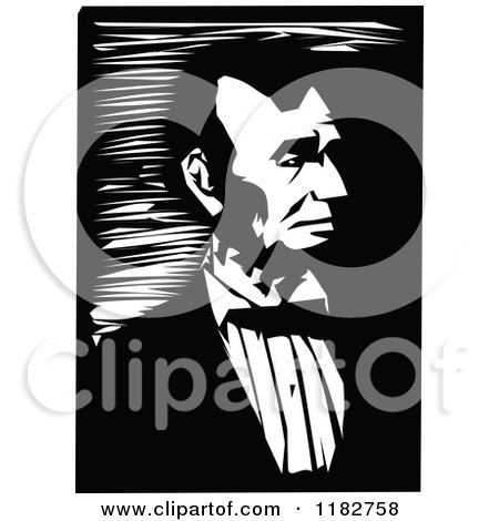 Clipart of a Black and White Portrait of Abraham Lincoln - Royalty Free Vector Illustration by Prawny