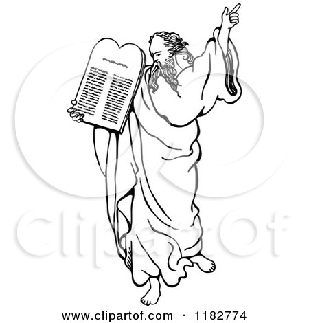 Clipart of a Black and White Moses Holding up the Ten Commandments - Royalty Free Vector Illustration by Prawny