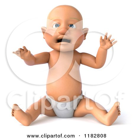 Clipart of a 3d Caucasian Baby Boy Sitting and Wearing a Diaper - Royalty Free CGI Illustration by Julos
