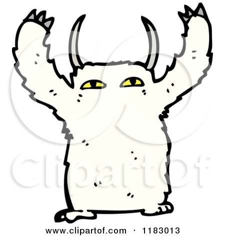Cartoon of a Furry Monster - Royalty Free Vector Illustration by lineartestpilot