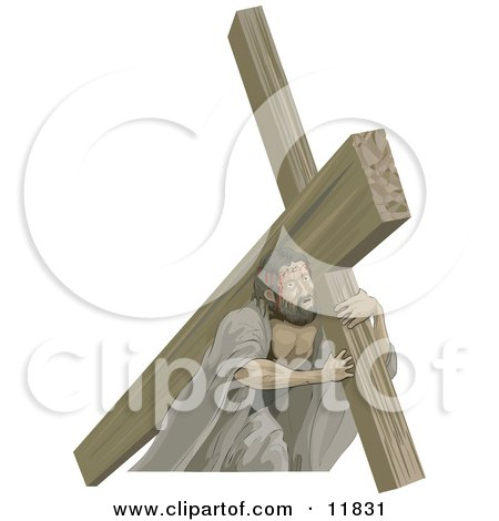 Royalty-free religious clipart picture of Jesus carrying the cross.