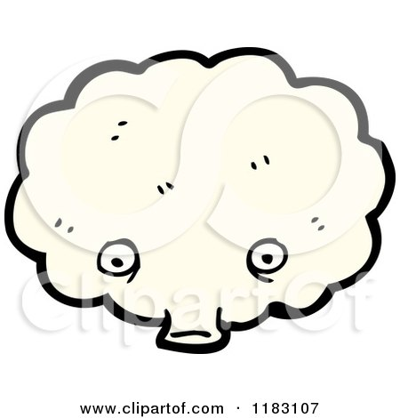 Cartoon of a Windy Cloud Blowing - Royalty Free Vector Illustration by lineartestpilot
