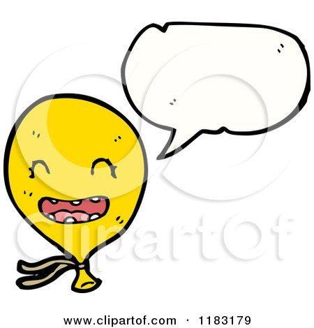 Cartoon of a Yellow Balloon Speaking - Royalty Free Vector Illustration by lineartestpilot