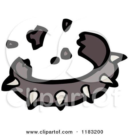 Cartoon of a Broken Spiked Dog Collar - Royalty Free Vector Illustration by lineartestpilot