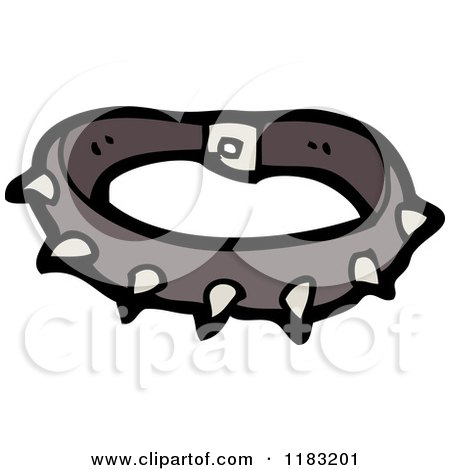 Cartoon of a Spiked Dog Collar - Royalty Free Vector Illustration by lineartestpilot