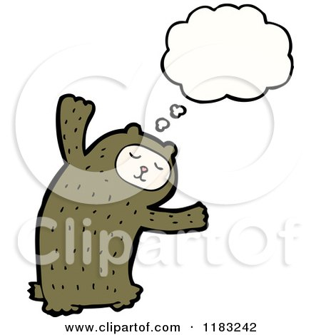 Cartoon of a Child Dressed up in a Bear Costume with a Conversation Bubble - Royalty Free Vector Illustration by lineartestpilot