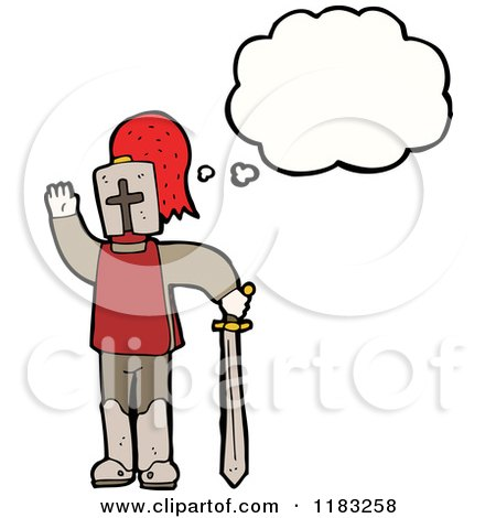 Cartoon of a Child Dressed up in a Knights Costume with a Conversation Bubble - Royalty Free Vector Illustration by lineartestpilot